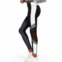 $enCountryForm.capitalKeyWord UK - Woman Sport Yoga Pants Fitness Sport Leggings Printing Gauze Splice High Waist Solid Color Tight Fitting Trousers