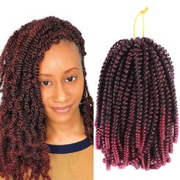 Curly ombre CroChet hair online shopping - Crochet Braids Ombre Spring Twist Hair Kanekalon Synthetic Hair Extensions Fiber Braided Kinky Curly Twists inch