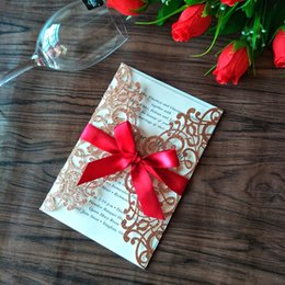 Wholesale 2019 New Rose Gold Glitter Laser Cut Invitations Cards with Red Ribbons For Wedding Bridal Shower Engagement Birthday Graduation