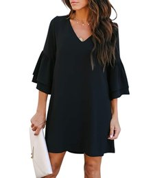 Wholesale long sleeve shift mini dress for sale – plus size Women s Dress Sweet Cute V Neck Bell Sleeve Shift Dress Explosion Women s Solid Color Long Flare Sleeve Loose Straight Mini Dress