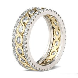 Hollow Fingers Australia - Vintage Cubic Zirconia Rings for Woman Charm Gold color Hollowed out Finger Jewelry girl Gift