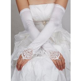 sequin fingerless gloves Australia - 2019 Opera Length Womens Long Gloves Fingerless Embroidery Lace Trim Beaded Sequins Bridal Wedding