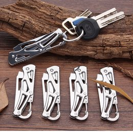 multi key blade UK - Mini Key Chain Folding Knife Stainless Steel Portable Back Button Pocket Outdoor Hunting Multi Hand Tool Camping Survival Tactical edc Knife