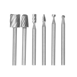 rotary burr set Australia - 6PCS 3mm Rotary Burr Carbide Set HSS Routing Bits Mini Drill Cutter for Stone Diamond Carving Engraving Power Tool Accessories