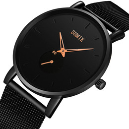 ultra thin slim watch Australia - Luxury Mens Watches Ultra Thin Wrist Watches For Men Fashion Quartz Watch Men Casual Slim Mesh Steel Sport Watch Relogio Masculi