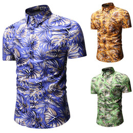 clothes trading 2019 - 2019 Hawaiian Shirt Men Short Sleeve Holiday Shirt Beach Travel Casual Color Big Code Clothes Foreign Trade European Cod