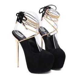 $enCountryForm.capitalKeyWord Australia - 16cm Ultra high heels black gold strappy ankle wrap lace up pumps fashion luxury designer women shoes size 34 to 40
