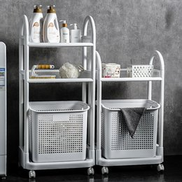 household laundry basket Canada - Dirty basket household multi-layer rack laundry basket simple dirty clothes storage basket plastic bathroom dirty clothes tweeze