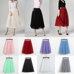 c6dcb0ccd4 Ball Maxi Dress Pleated Skirt Australia - Women Tulle Mesh 62cm Skirt  Elastic High Waist Lace