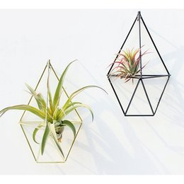 $enCountryForm.capitalKeyWord Australia - Hanging Planter Vase Geometric Wall Decor Container Metallic Pendants Wall Mounted Flower Pots Wall Decoration Soilless