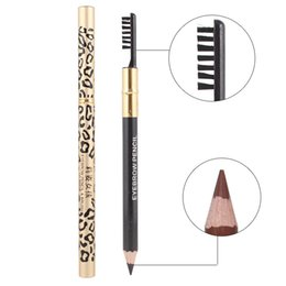 leopard pens Australia - Double-ended Leopard Eyebrow Pencil Waterproof lasting long-wear eye brow pen 5 colors mixed color high quality