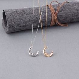 Best Wedding Pendant Australia - Simple Temperament Diamond Moon Pendant Necklace Fashion Crystal Clavicle Chain Necklaces Jewelry for Wedding Best Gift-A074