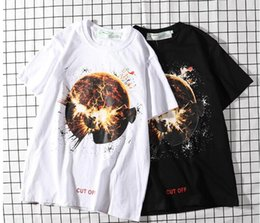 Discount t shirts new trends - Brand OF White Box LOGO Classic Planet Explosion Pattern Print 19 Designer New Trends Couple White Black T-Shirt High Qu