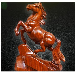 carving furniture Australia - Carved wooden horse odiac yellow flowers pear solid wood furniture office rosewood home decoration statue factory direct selling