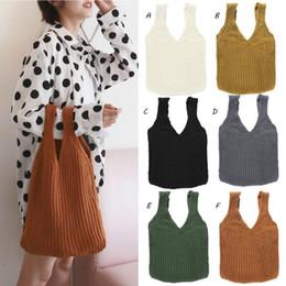 Knitted Ladies Handbags Australia - Comfortable Woolen Woven Knitted Bag Handbags Fashionable Simple Ladies Totes Shoulder Handbag Crochet Bag For Women Girl Bags