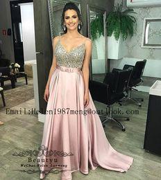 f41220e12b64 Discount vogue modern dresses - Vogue Crystals Prom Dresses Long 2019 Blush  Pink Spaghetti Straps Elegant