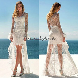 $enCountryForm.capitalKeyWord Australia - Full Lace Beach Boho Wedding Dresses High Low V Neck Long Sleeves Bohemian Wedding Dress See Through Button Back Short Bridal Gowns 2019