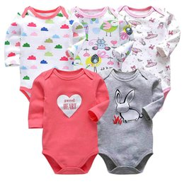 $enCountryForm.capitalKeyWord Australia - 5pcs lot Baby Bodysuits Original Infant Jumpsuits Autumn Overalls Cotton Coveralls Boy Girls Baby Clothing Set Cartoon Outerwear Y19061303