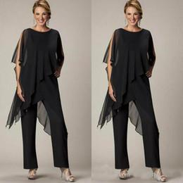 Asymmetrical Suit Australia - Fashionable Mother of the Bride Pant Sutis Black Chiffon Bateau Neck Asymmetrical Wrap Style Modest Mother's Suit for Weddings Custom Made