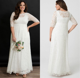 $enCountryForm.capitalKeyWord Australia - Country Style A Line Empire Wedding Dresses Plus Size Lace Bridal Gowns Short Sleeves Sheer Neck Bride Dresses