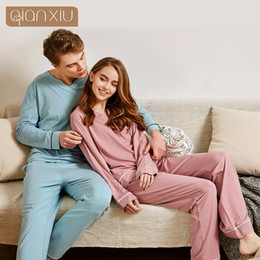 Wholesale couples sleepwear for sale – plus size 2020 Spring Men Casual Pajama sets Male Bamboo Cotton Sleepwear suit Couples Long Sleeve t shirt Pants Plus size Home pijamas