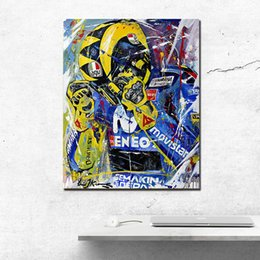 Bedroom Painting Portraits Australia - Valentino Rossi Portrait Statue Art Canvas Poster Painting Wall Picture Print Bedroom For Living Room Home Decoration