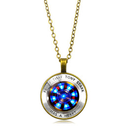 Marvel pendants online shopping - Marvel Iron Man Tony Stark Heart Necklace Creative Arc Reactor A Generation Time Gem Chain Necklace The Avengers Jewelry