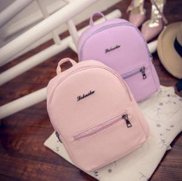 College sChool Colors online shopping - PU Candy Colors Backpack Colors College Wind Mini Soft Girls Travel School Bags Letter Printed Backpacks Outdoor Bags OOA6189