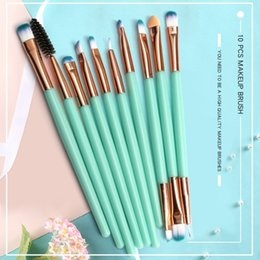 metal double ended 2019 - 10pcs Eye Makeup Brush Set Eyeliner Brush Double-End Eyeshadow Eyebrow Kit Beauty Makeup Tools discount metal double end