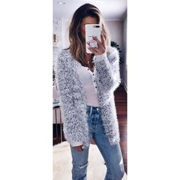 Discount hot pink computer - Hot Sale Winter Autumn Women's Knitted Sweaters Fluffy Shaggy Faux Fur Cardigan Slim Long Warm Candigan Outwears Sw