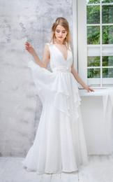 Chart Decorations Australia - Chiffon Weddig Dress V Neck Tied Skirts waist band with decoration wedding dresses gothic wedding dresses BBG038