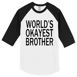 f030c306 2019 Summer T-shirts World's Okayest Brother Letter Printed Crossfit 100%  Cotton Crossfit Men's T-shirt Top Raglan T Shirt Kpop