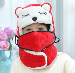 Crochet Ski Mask Australia - Russian Bomber Hats Child Winter Windproof Ski Hat With Ear Flaps And Mask Neck Warm Hats Boys Girls Ear Cap