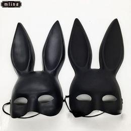 Black Bunny Mask Australia - mling 1PC Mark Black And White Women Girl Sexy Rabbit Ears Mask Cute Bunny Long Ears Bondage Mask Halloween Masquerade Party