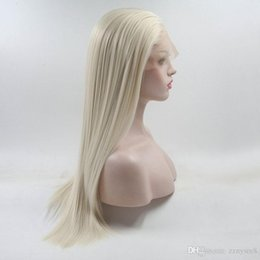 $enCountryForm.capitalKeyWord Australia - Top Quality Natural Straight White Platinum Blonde Princess Synthetic Lace Front Wig With Baby Hair For White Women