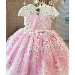 Images Applique Shirts Girl Australia - Pink White Appliques Pearls Flower Girl Dresses with Big Bow O-neck Knee Length Short Sleeves Custom Made Princess Birthday Party Dresses