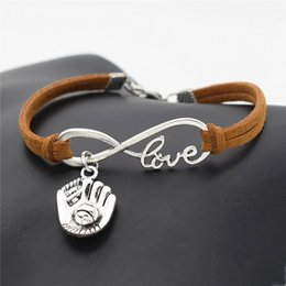 Casual Leather Gloves Australia - New Punk Sports Antique Silver 3D Baseball Glove Pendants Charm Bracelets for Friends Gift Men Women Casual Brown Leather Suede Jewelry Gift