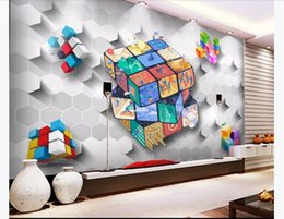 kitchen blocks Australia - Three-dimensional cartoon children's 3D cube demon block children's room background mural Wall Papers For Walls 3D Papel De Parede