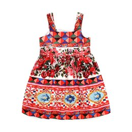 $enCountryForm.capitalKeyWord UK - Kid Designer Clothes Girls European And American Suspender Cotton Floral Print Princess Dress Comfortable Jumper Skirt Beach Holiday Cloth