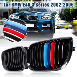 $enCountryForm.capitalKeyWord Australia - New 1Pair Car M-color Front Grill Gloss Black Kidney Grille Grill For BMW E46 Touring Saloon 4Door 3 Series 2002 2003 2004 2005