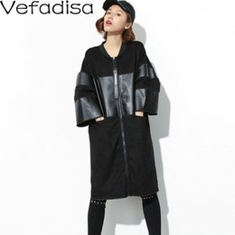 Wholesale long three quarter sleeve coat for sale - Group buy Vefadisa Autumn Casual Solid Spliced Leather Coat Loose Zipper O Neck Coat Three Quarter Sleeve Long Woman QYF312