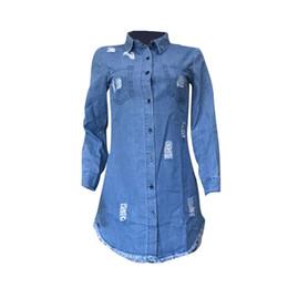 $enCountryForm.capitalKeyWord Australia - Fashion women's hip hop denim blue denim shirt dress spring and autumn fashion casual section torn jeans tassel designer dress