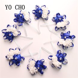 $enCountryForm.capitalKeyWord Australia - Yo Cho 10pc Bridal Hand Flower Wedding Decoration Mariage Rose Wrist Bracelet Silk Pe Artificial Brides Bridesmaid Wrist Flower J190707