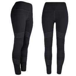 Discount yoga pants models - 2019 Amazon Explosion models high waist yoga leggings women Solid color four needles six line nine points sports pants