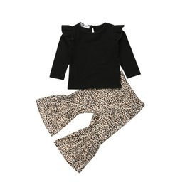Leopard Kids T Shirts UK - Children Kids Baby Girl Tops T-Shirt Leopard Flared Long Pants Outfits Clothes