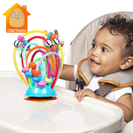 baby rattles Australia - Soft Silicone Baby Rattle Beads Toy Table Sucker Rattles Infant Dining Chair Suction Rattles Stroller Handheld Suction Cups Toys T200429