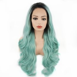Long Light bLue cospLay wig online shopping - New Cosplay Long Body Wave Hair Dark Root Light Blue Ombre Half Hand Tied Heavy Density Realistic Synthetic Lace Front Wigs for Women