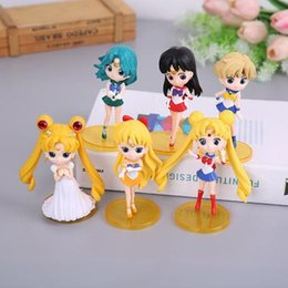 moon toys UK - New Arrival 6pcs  Lot Sailor Moon Kids Action Figure Toys Pvc Collection Model Toys For Children Birthday Party Best Gift Set