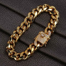 $enCountryForm.capitalKeyWord Australia - 18K Gold & White Gold Plated Mens Hip Hop Cuban Chain Bracelet Miami Rock Punk Rapper Jewelry Copper Wrist Chains for Boys Gifts Wholesale