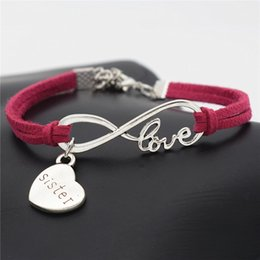 $enCountryForm.capitalKeyWord Australia - 2019 Hot Sale Infinity Love Heart Sister Mom Daughter Pendant New Fashion Red Leather Rope Bracelets For Women Men Friendship Wrap Jewellery